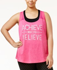 Ideology Plus Size Achieve Graphic Racerback Tank Top Only At Macy's Molten Pink