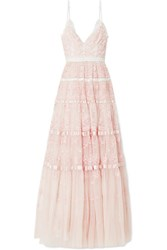 Needle And Thread Satin Trimmed Embroidered Tulle Gown Pastel Pink
