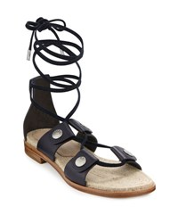 Rag And Bone Evelyn Lace Up Leather Sandal Navy