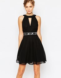 Elise Ryan Plunge Neck Mini Dress With Embellishment Black