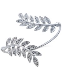 Inc International Concepts Silver Tone Pave Double Leaf Cuff Bracelet Only At Macy's