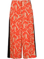 Jonathan Saunders Floral Print Cropped Pants Yellow And Orange