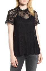 Chelsea 28 Chelsea28 Lace Ruffle Collar Blouse Black
