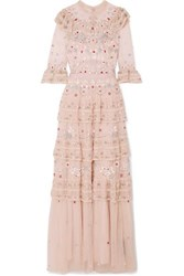Needle And Thread Eden Tiered Embellished Tulle Gown Blush