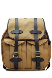 Filson Twill Backpack With Leather Brown