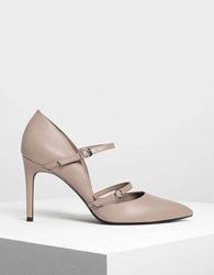 Charles And Keith Double Strap Mary Jane Heels Taupe