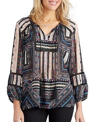 Democracy Patterned Peasant Blouse Black