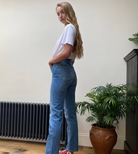 Asos Design Tall High Rise Stretch 'Slim' Straight Leg Jeans In Mid Vintage Wash Blue