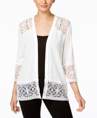 Ny Collection Lace Trim Cardigan Ivory
