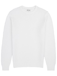 Reiss Rocket Textural Weave Cotton Jumper Winter White