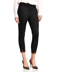 The Kooples Lace Trim Smoking Pants Black