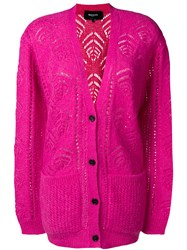 Rochas Longline Patterned Cardigan Pink And Purple
