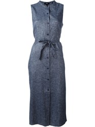 Theory Button Down Tie Waist Denim Effect Dress Blue