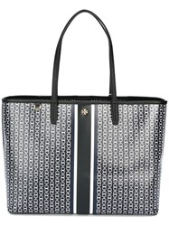 Tory Burch Chain Print Tote Blue