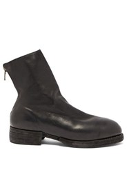 Guidi Back Zip Leather Ankle Boots Black