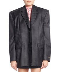 Balenciaga Boxy Pinstriped Wool Jacket W Skirt Panel Gray