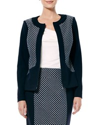 Laundry By Shelli Segal Paneled Zip Front Jacket Dark Moonlight Grey