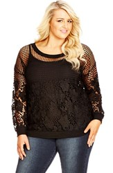 Plus Size Women's City Chic 'Floral Mesh' Embroidered Lace Top