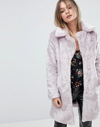 Miss Selfridge Crushed Faux Fur Coat Lilac Purple
