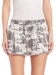Parker Alexis Printed Silk Shorts Black Graphic