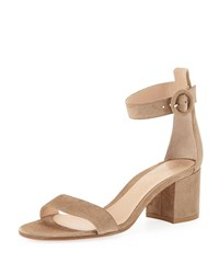 Gianvito Rossi Suede Ankle Strap Chunky Heel Sandals Camel