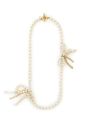 Miriam Haskell Crystal Baroque Pearl Bow Chain Necklace White