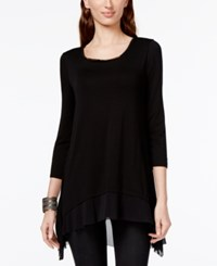 Cable And Gauge Layered Mesh Hem Top