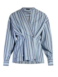 Isabel Marant Silvia Striped Wrap Shirt Blue Multi