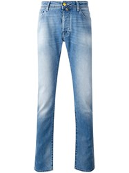 Jacob Cohen Washed Straight Jeans Men Cotton Polyester 36 Blue