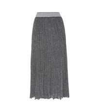 Missoni Knitted Metallic Wool Blend Skirt Silver