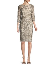 David Meister Embellished Floral Three Quarter Sleeve Dress Silver