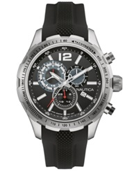 Nautica Men's Chronograph Black Silicone Strap Watch 45Mm Nad15512g No Color
