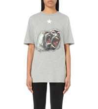 Givenchy Monkey Print Cotton Jersey T Shirt Light Grey