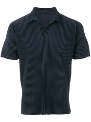 Homme Plisse Issey Miyake Ribbed Effect Polo Shirt Polyester Blue