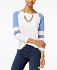 American Rag Lace Inset Baseball T Shirt Only At Macy's Bleached Denim Combo