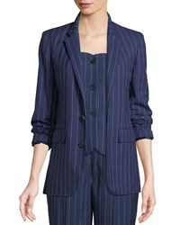 Ralph Lauren Roberts Single Breasted Pinstriped Wool Jacket Blue White