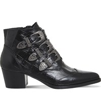 Office Jagger Crocodile Embossed Leather Ankle Boots Black Leather