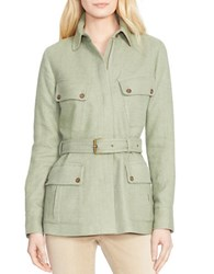 Lauren Ralph Lauren Petite Leather Trimmed Linen Silk Herringbone Jacket Green