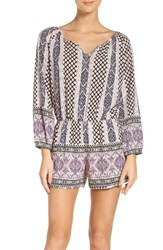 Fraiche By J Women's Paisley Print Long Sleeve Romper