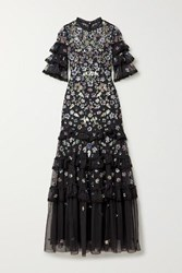 Needle And Thread Meadow Ruffled Crochet Trimmed Sequined Tulle Gown Black