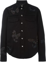 Valentino Embroidered Butterfly Shirt Black