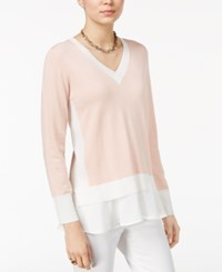 Tommy Hilfiger Colorblocked Layered Look Top Only At Macy's Blush Ivory