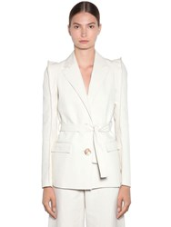 Kenzo Tailored Soft Linen Drill Jacket Ivory