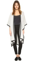 Jenni Kayne Cashmere Binding Poncho Light Grey Charcoal
