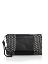 Christopher Kon Two Tone Woven Leather Clutch