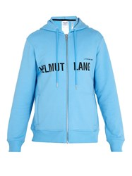 Helmut Lang Logo Print Cotton Hooded Sweater Blue