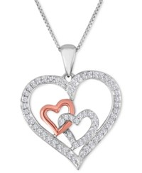 Macy's Cubic Zirconia Double Heart Pendant Necklace In Sterling Silver And 10K Rose Gold