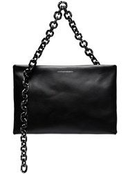 Calvin Klein 205W39nyc Black Skull Chain Leather Clutch Bag
