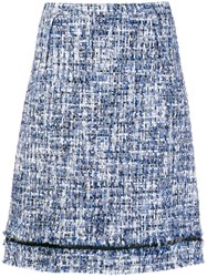 Giambattista Valli Tweed A Line Skirt Blue
