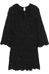Zimmermann Good Times Hooded Broderie Anglaise Cotton Dress Black